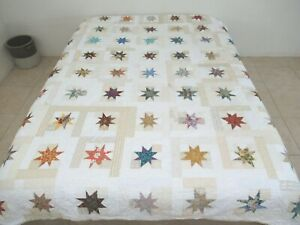 FULL Vintage But Not Very Old All Cotton Machine Sewn ASYMMETRICAL STAR Quilt