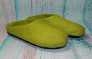 Fair Trade Felt Slippers Babouche Green Hand Made Super Soft From Nepal