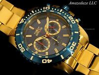 NEW Invicta Mens 18K Gold Plated Stainless Steel Blue Dial Tachymeter Watch !!