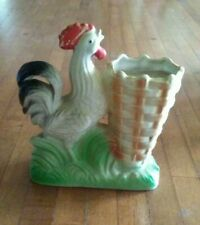 Vintage Chalkware Planter In The Shape Of A Rooster