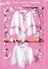 "Peter Pan PP973 Vintage Girls Poncho Crochet Pattern 16-26"" Chest, Easy Repro"