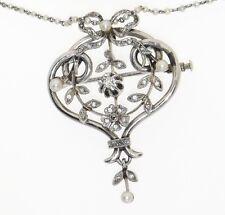Antique French Art Nouveau Platinum Diamond Pearl Lavaliere Pendant 18K WG Chain