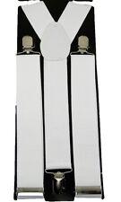 "Unisex Clip-on Braces Elastic ""White"" Y -Back Suspender 1 1/2"""