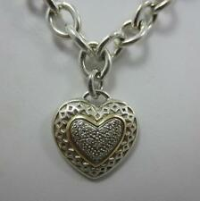 14k yellow Gold heart charm cz Sterling Silver necklace 925 link chain bordeaux