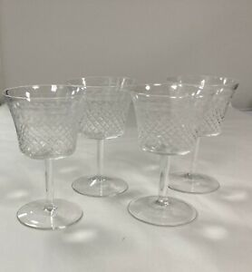 Cut Crystal Pall Mall Etched Wine Glasses x 4 Stand 11cm Tall x 4.5cm