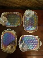 FOUR Vintage Iridescent Anchor Hocking Fire King Snack Lunch Plates & Cups NICE!