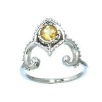 YELLOW CITRINE NATURAL GEMSTONE 925 SOLID STERLING SILVER JEWELRY RING 7
