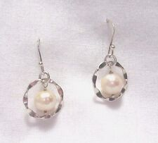 WHITE FRESH WATER PEARLS IN WAVY STERLING SILVER CIRCLE DANGLE EARRINGS NEW