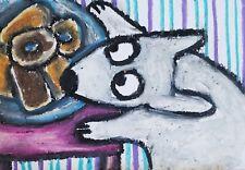 Bull Terrier Donut Thief Aceo Print Dog Mini Art Card 2.5X3.5 Ksams Collectible