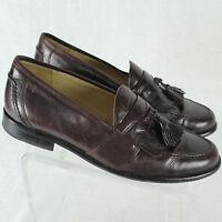 Johnston & Murphy Dark Brown Leather Tassel Loafer Slip-On Dress Shoe Sz 9.5 EUC