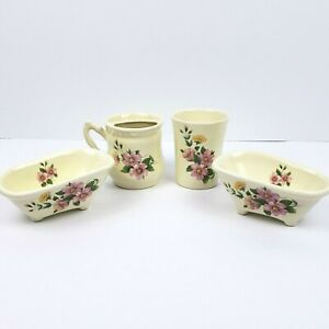 Vintage Porcelain Bathroom Accessories Set Floral Toothbrush Holder Cup Soapdish