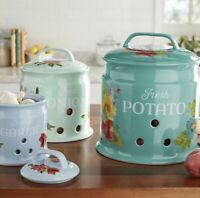 The Pioneer Woman Potato, Onion & Garlic Keepers Set of 3 Stoneware Floral Aqua