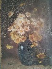 Ancien tableau,huile sur toile,nature morte aux fleurs,signé,époque XIXème