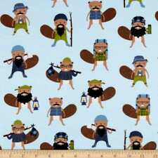 Camping Beavers on Blue By The yard cotton FLANNEL print