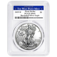 2019-W Burnished $1 American Silver Eagle PCGS SP69 FS West Point Label