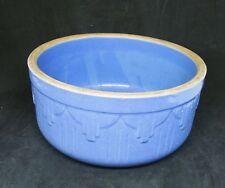 "Vintage Blue Stoneware Pottery Mixing Bowl 7.5"""