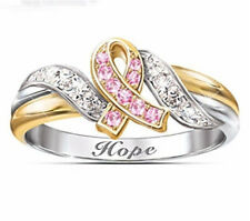 White Gold Plated Pink Sapphire White Topaz Women Jewelry Proposal Ring Size 8