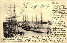 Hamburg Schiffe Hafen Litho-AK 1900 mit Bahnpost nach Pötrau Büchen A-Stempel