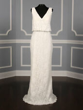 BRAND NEW Pronovias Preslie Wedding Dress Lace V-Neckline with a V-back 14 $1.5K
