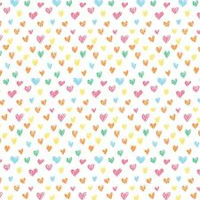 Printed Bow Fabric A4 Multi-Coloured Love Heart Pattern LH6 Make glitter bows