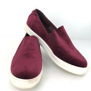 Steve Madden Womens Kenzy 6.5 M Burgundy Velvet Loafer Sneaker Flats