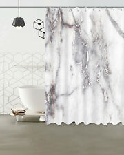 Grey & White Marble Bathroom Waterproof Fabric Bath Shower Curtain Hooks Set 72""