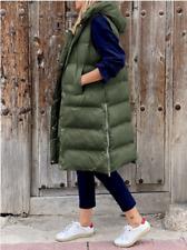 Damen Lange Kapuzen Steppweste Gepolsterte Winterweste Bodywarmer Übergangsjacke