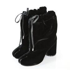 MAISON MARTIN MARGIELA split toe shoes black velvet high heel tabi boots 39 NEW