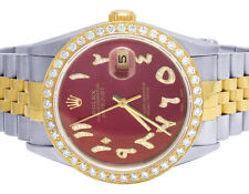 Rolex Datejust 18K/ Steel Two Tone 36MM Red Arabic Dial Diamond Watch 2.75 Ct