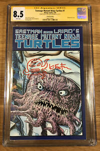 TMNT #7, (2nd print), CGC 8.5 SS, signed and sketch by Eastman