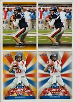 (4) CHAD KELLY 2017 LEAF DRAFT GOLD PARALLEL ROOKIE CARD LOT! OLE MISS! BRONCOS!
