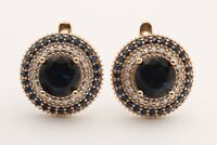Turkish Jewelry Small Round Sapphire Topaz 925 Sterling Silver Stud Earrings