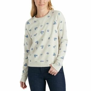 LUCKY BRAND NEW Women's Embroidered Cotton French Terry Sweatshirt Top TEDO
