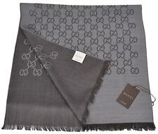 New Gucci Women's 165904 Grey and Brown Wool Silk GG Guccissima Scarf Muffler