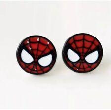 Spider-Man Head Metal Enamel Stud Earrings - Great Gift - Ships Fast USA Seller