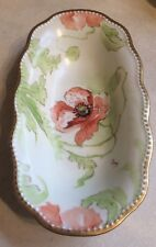 Antique Limoges France Hand Painted Pink Flowers Gold Trim Oval Decorative Bowl