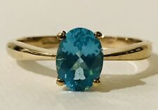 Paraiba Neon Apatite 1ct Solitaire Ring; 14ct Gold Overlay 925 Sterling Silver N