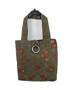 Michael Kors NEW XL Tote With Ring Shopper Floral Dark Green Suede Tote Handbag