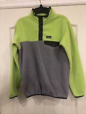 Patagonia Synchilla Green/Gray Snap-T Fleece Pullover Boys XL 14 EUC