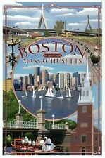 Boston Massachusetts Montage, Boats in Harbor, Bridge etc. MA -- Modern Postcard