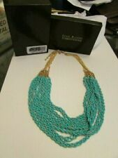 New Joan Rivers Multi Strand Green & Silver Beads Necklace Gold Tone Chain