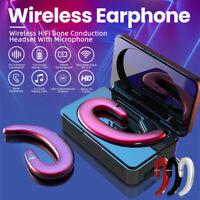 Single Wireless Bluetooth 5.0 Earphone Earbud Headset Ear Hook Bone Conduction
