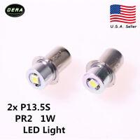 New 2x 1W 3V PR2 White Flashlight Replacement LED bulb Emergency Lantern Light