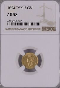 NGC AU58 1854 Type 2 $1 Gold Coin.!