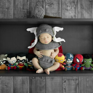 New handmade newborn lovely  thor baby boys knit Clothes Photo Prop fit