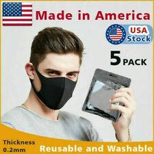 5pc Black Unisex Face Mask Reusable Washable Cover Masks Cloth Men Women kids