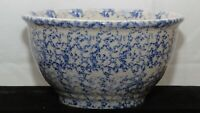 "Williams Sonoma Large Blue Spongeware Serving Mixing Bowl 4.5"" tall  x 8.5"""