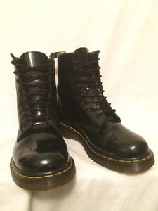 GENUINE DR MARTENS 1460W 8EYE LACE UP BLACK PATENT LEATHER BOOTS UK6 EU39 US8