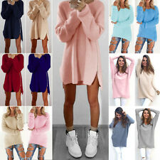 Womens Fluffy Sweater Knitted Loose Jumper Mini Dress Pullover Tunic Tops Casual