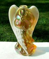 "Fenton Autumn Gold Carnival Glass Angel Figurine w/Coralene Beaded Wings 7""H HTF"